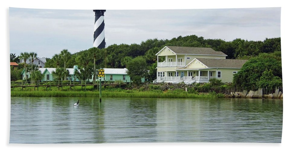 Lighthouse Bath Sheet featuring the photograph Beautiful St Augustine Lighthouse Waterfront by D Hackett