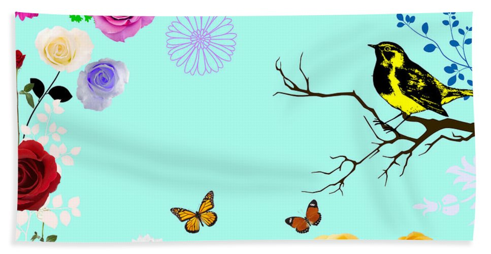 Original Design With Beautiful Summer Day In My Mind. Bath Sheet featuring the digital art Beautiful Summer Day by Janpen Sherwood