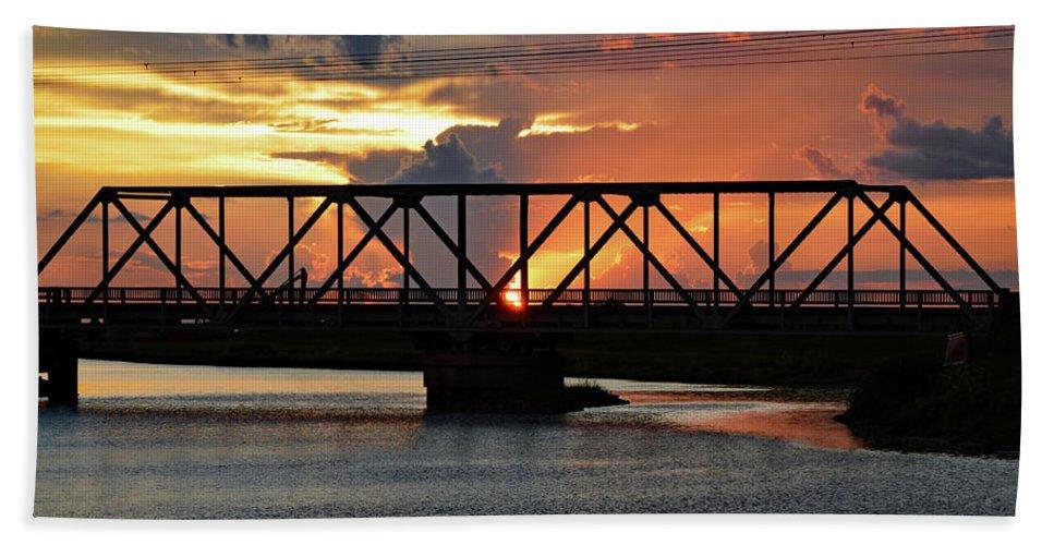 Delray Bath Sheet featuring the photograph Beautiful Sunset Bridge by Ken Figurski