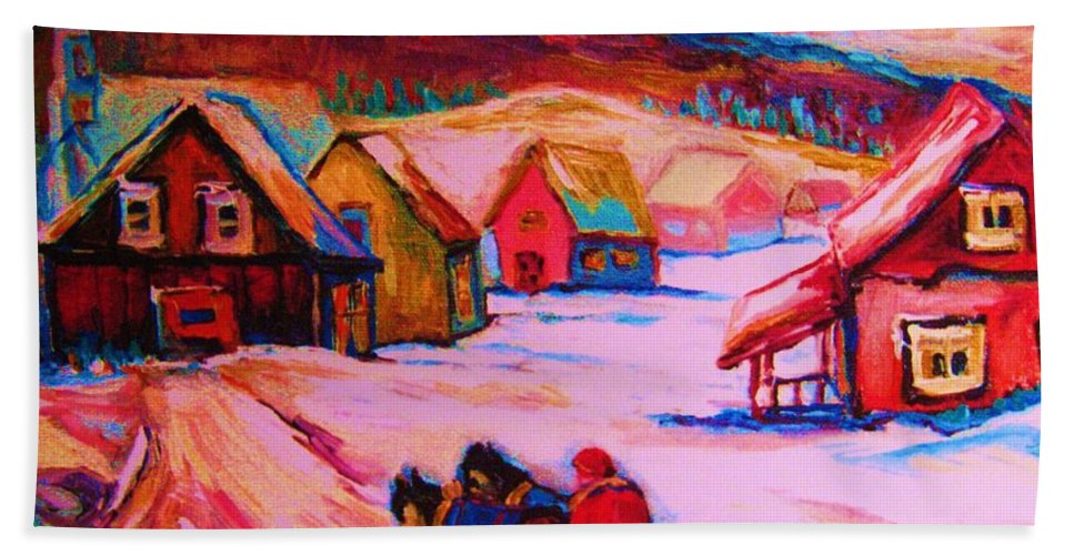 Winterscene Bath Towel featuring the painting Beautiful Village Ride by Carole Spandau