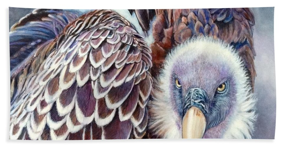 Nancy Gaddy Hand Towel featuring the painting Beautiful Vulture by Nancy Gaddy