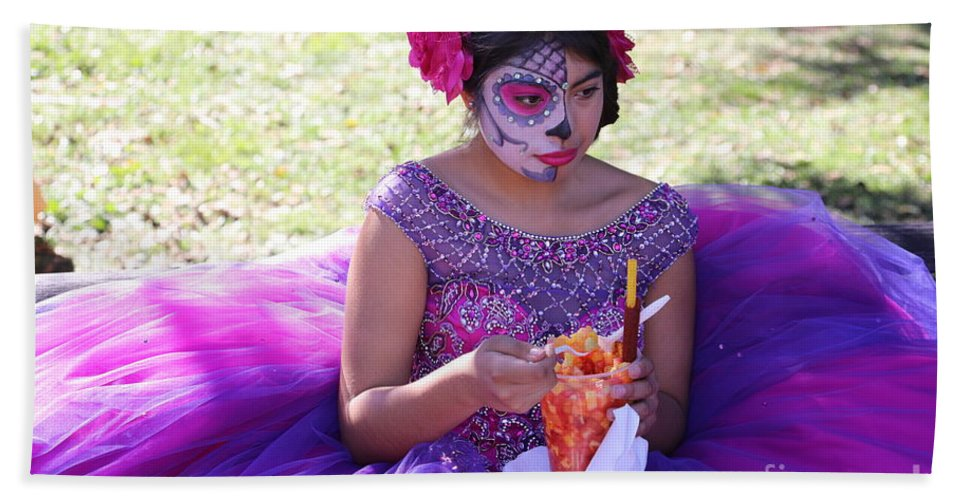 Dia De Los Muertos Hand Towel featuring the photograph Beautiful Woman Day Of Dead IIi by Chuck Kuhn