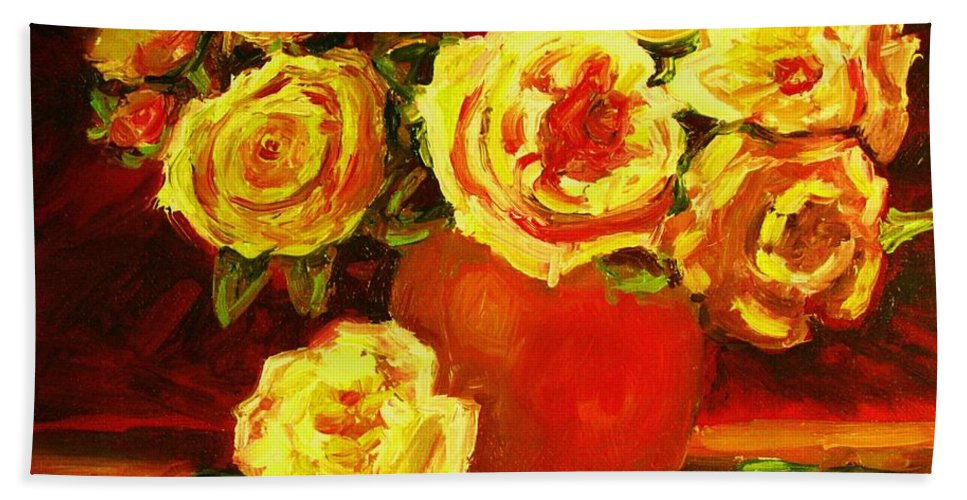 Roses Bath Towel featuring the painting Beautiful Yellow Roses by Carole Spandau