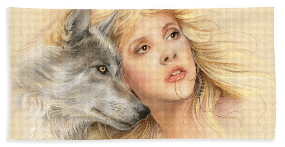 Stevie Nicks Hand Towel featuring the drawing Beauty And The Beast by Johanna Pieterman