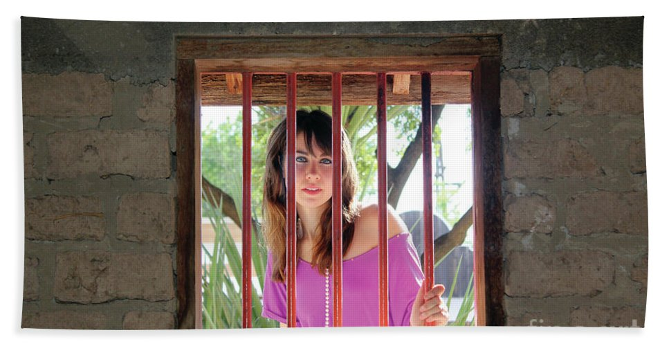 Beauty Hand Towel featuring the photograph Beauty Beyond The Bars by Alycia Christine