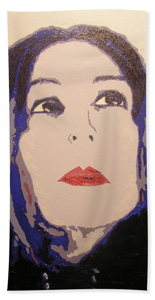 Portrait Bath Towel featuring the painting Beauty Beyond the Blue by Ricklene Wren