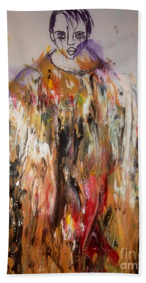 Abstract Bath Sheet featuring the painting Beauty by Dr Ernest Williamson III