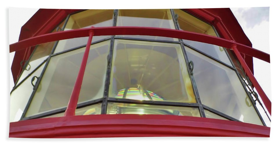 St Augustine Bath Sheet featuring the photograph Beauty In The Lighthouse Lens by D Hackett
