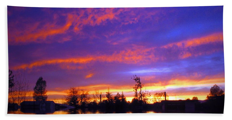 Sunset Hand Towel featuring the photograph Beauty In The Storm by Joyce Dickens
