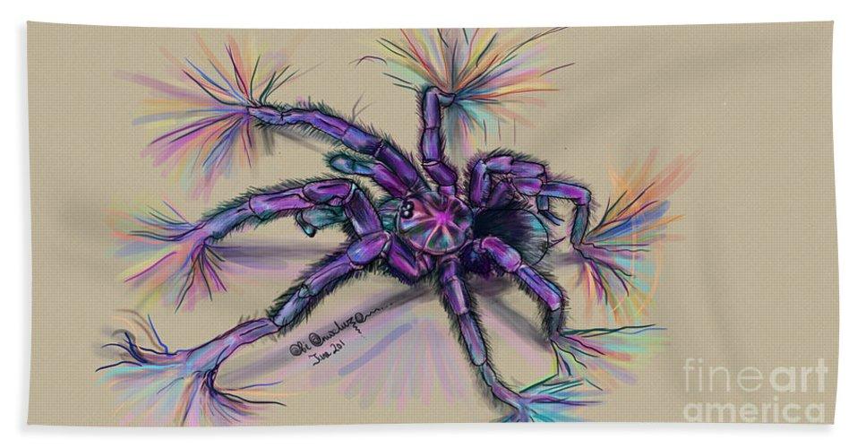 #digital #tarantula #arachnids Hand Towel featuring the digital art Beauty Of The Crawlies by Ikechukwu Obiajulu Onweluzo
