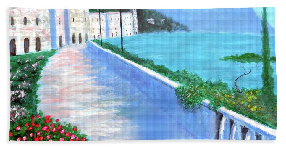 Beauty Of The Riviera Hand Towel featuring the painting Beauty Of The Riviera by Larry Cirigliano