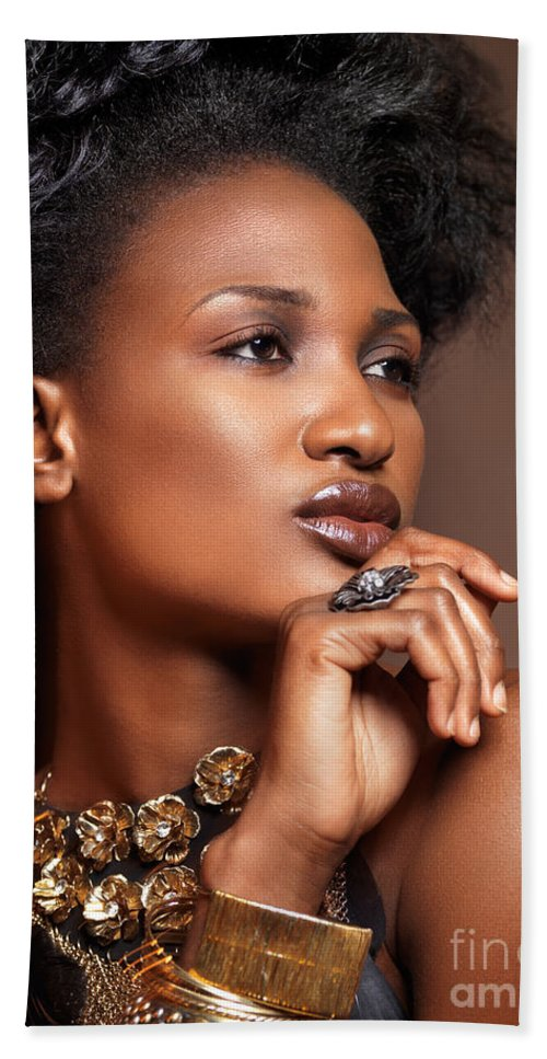 Beauty Bath Sheet featuring the photograph Beauty Portrait Of Black Woman Wearing Jewelry by Oleksiy Maksymenko