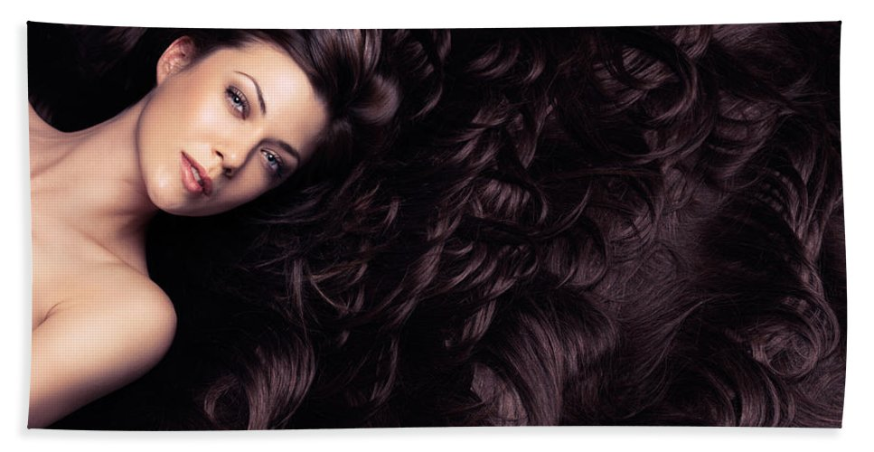 Hair Bath Sheet featuring the photograph Beauty Portrait Of Woman Surrounded By Long Brown Hair by Oleksiy Maksymenko