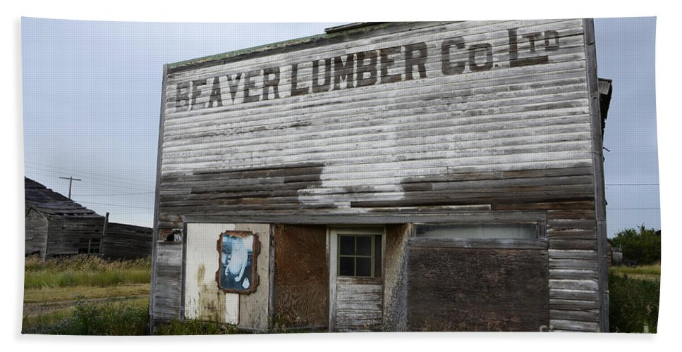 Beaver Hand Towel featuring the photograph Beaver Lumber Company Ltd Robsart by Bob Christopher