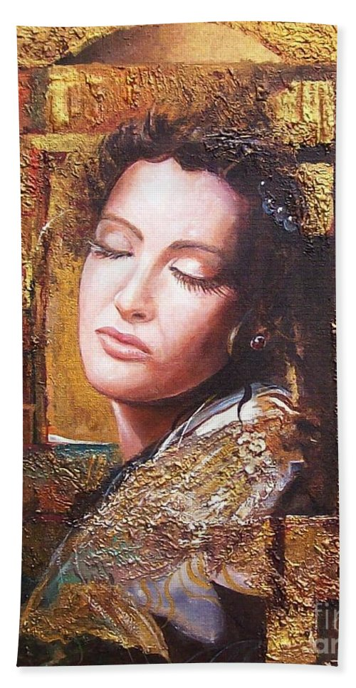 Female Portrait Bath Towel featuring the painting Because You Are Beautiful by Sinisa Saratlic
