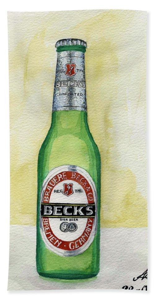 Botle Bath Towel featuring the painting Becks by Alban Dizdari