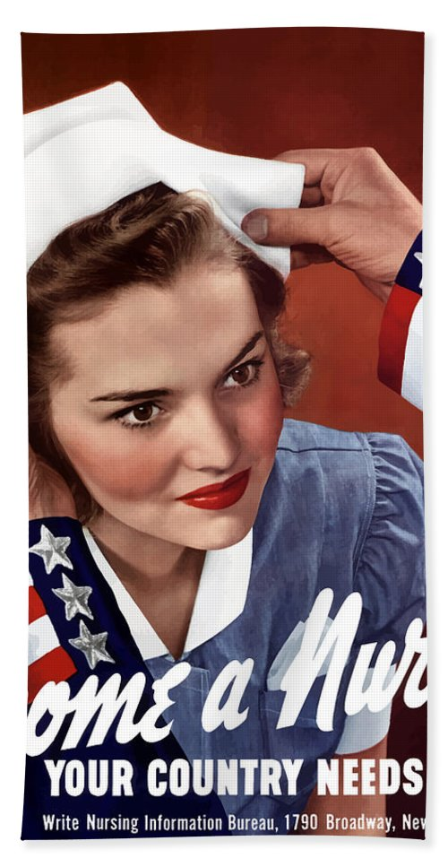 Uncle Sam Hand Towel featuring the painting Become A Nurse -- Ww2 Poster by War Is Hell Store