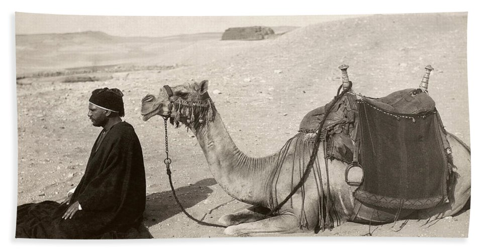 20th Century Bath Sheet featuring the photograph Bedouin At Prayer by Granger
