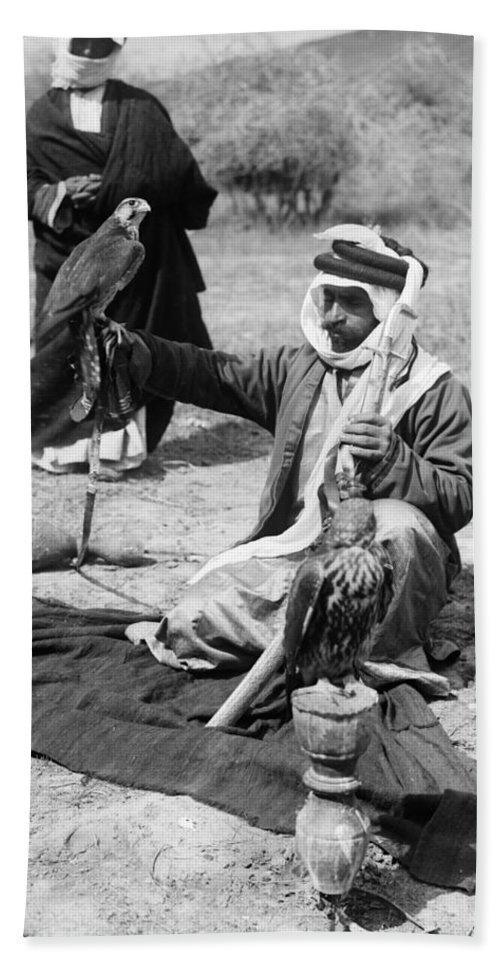 1910 Bath Sheet featuring the photograph Bedouin Falconer, C1910 by Granger