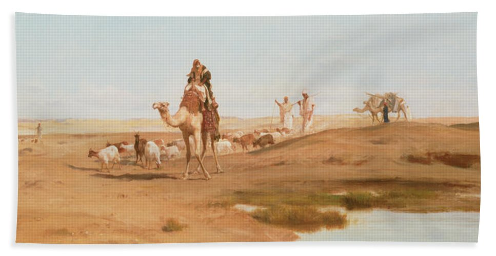 Landscape; Arab; Camel; Goatherd; Goats; Herd; Nomad; Nomadic; Oasis; North African; Berber Bath Sheet featuring the painting Bedouin In The Desert by Frederick Goodall