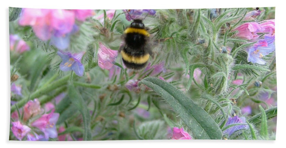 Bee And Flower Bath Sheet featuring the photograph Bee And Flower by Heather Lennox