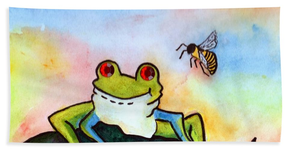Tree Frog Hand Towel featuring the painting Bee Hoppy by Robin Monroe