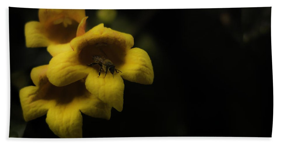Bee Hand Towel featuring the photograph Bee In A Trumpet by Chris Coffee