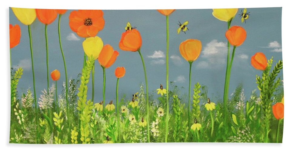 Landscape Bath Sheet featuring the painting Bee-utiful Day by Carol Sweetwood
