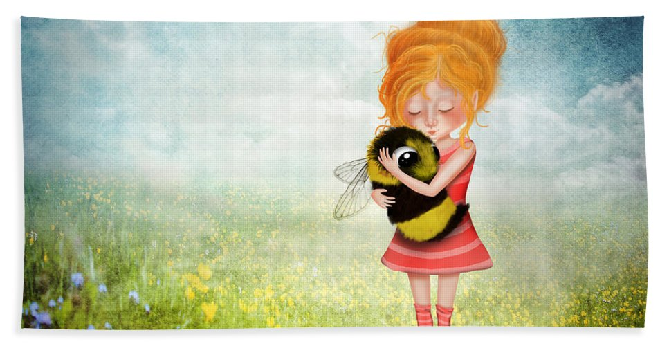 Bee Bath Towel featuring the digital art Bee Whisperer by Laura Ostrowski