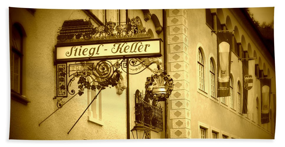 Beer Hall Bath Towel featuring the photograph Beer Cellar In Salzburg by Carol Groenen