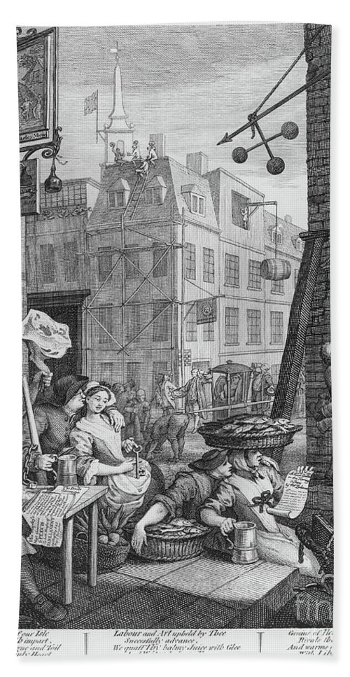 Satire Bath Towel featuring the drawing Beer Street, 1751 by William Hogarth