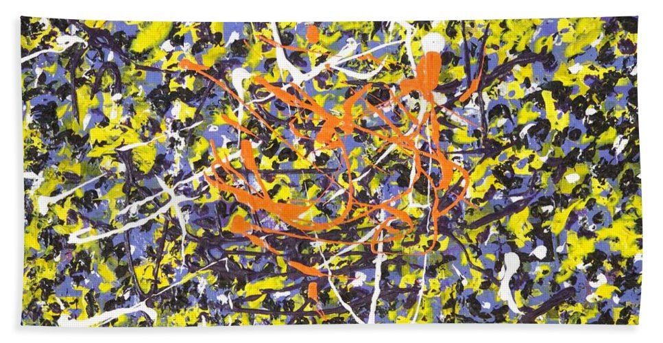Abstract Acrylic Painting Bath Sheet featuring the painting Bees by Jane Gannon