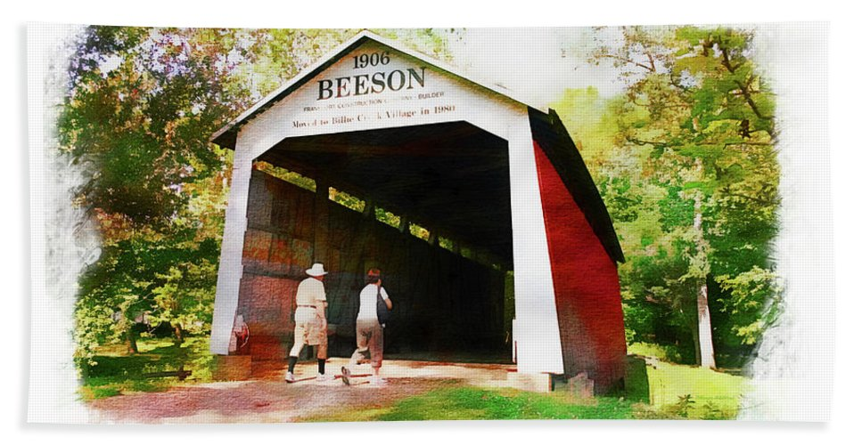 Beeson Hand Towel featuring the photograph Beeson Covered Bridge by Margie Wildblood