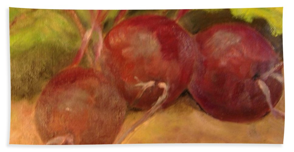 Vegtables Hand Towel featuring the painting Beet It by Pat Snook