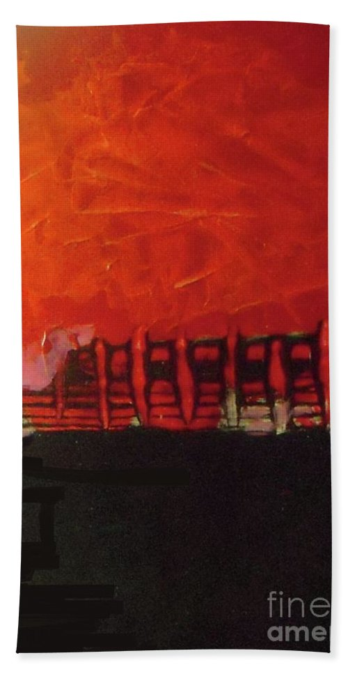 Abstract Hand Towel featuring the painting Before Performance by Vesna Antic