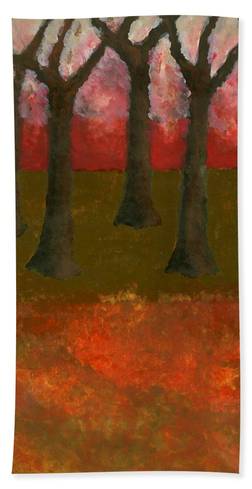 Colour Hand Towel featuring the painting Before Spring by Wojtek Kowalski