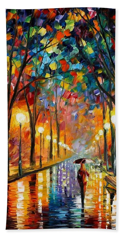 Afremov Bath Sheet featuring the painting Before The Celebration by Leonid Afremov