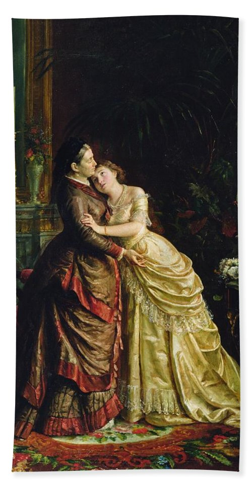 Marriage Hand Towel featuring the painting Before The Marriage by Sergei Ivanovich Gribkov