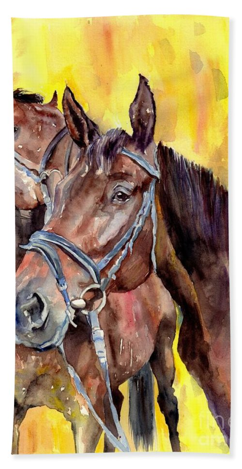 Horse Hand Towel featuring the painting Before The Race by Suzann Sines