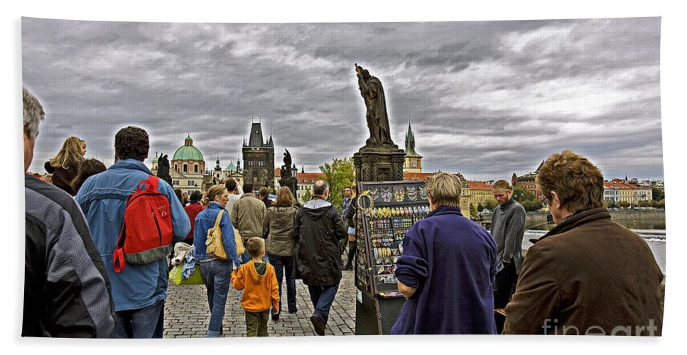 Prague Hand Towel featuring the photograph Before The Rain On The Charles Bridge by Madeline Ellis