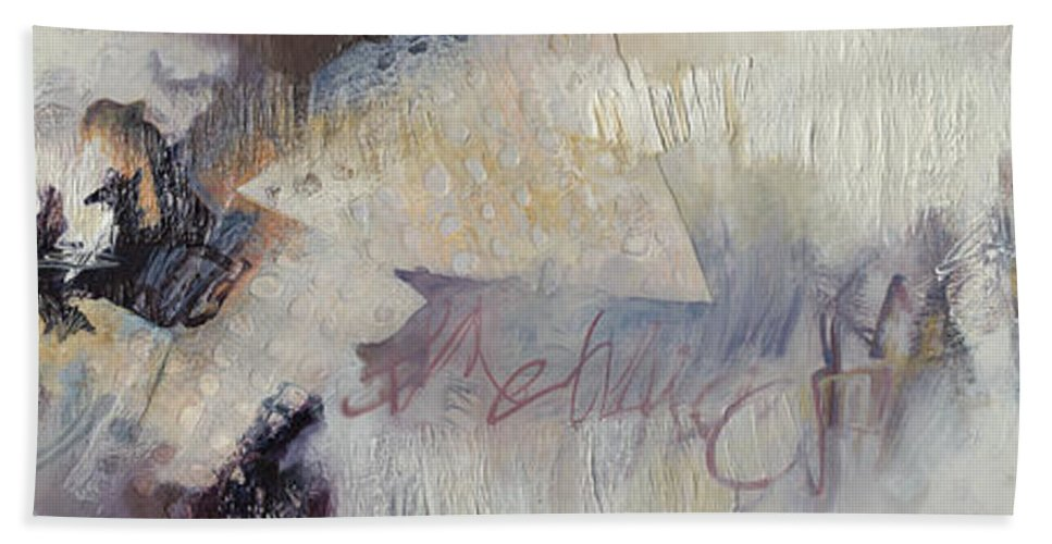 Abstract Bath Sheet featuring the painting Before You Go by Thyra Moore