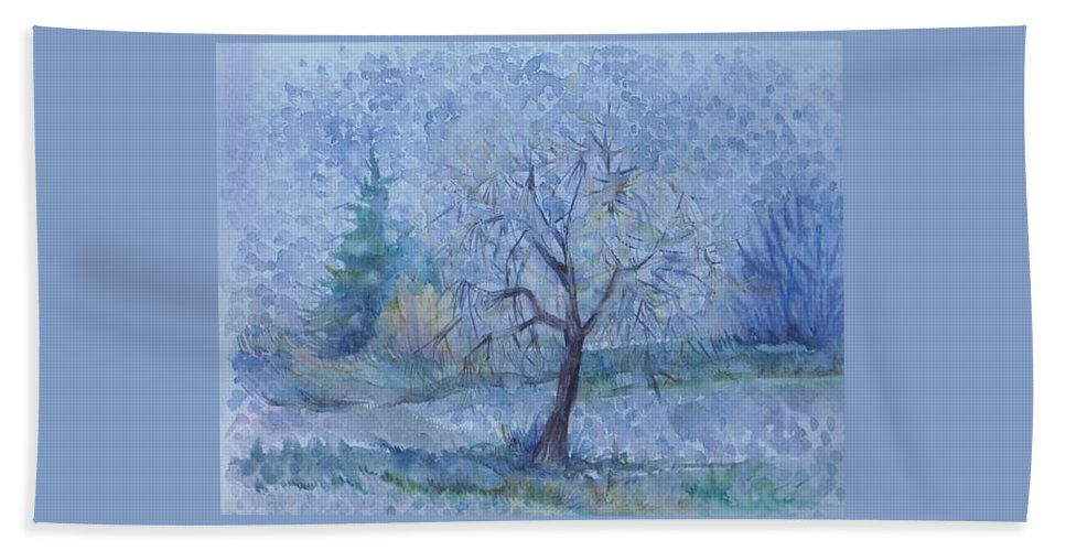 Autumn Bath Towel featuring the painting Begining Of Another Winter by Anna Duyunova