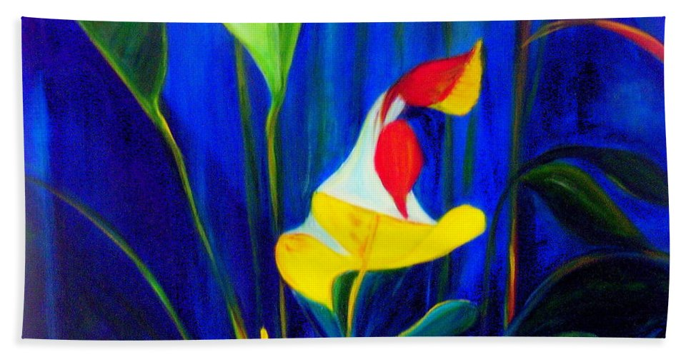 Hawaiian Hand Towel featuring the painting Beginnings by Dina Holland