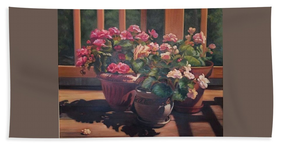 Begonias Hand Towel featuring the painting Begonias On Deck by Rosanne Wolfe