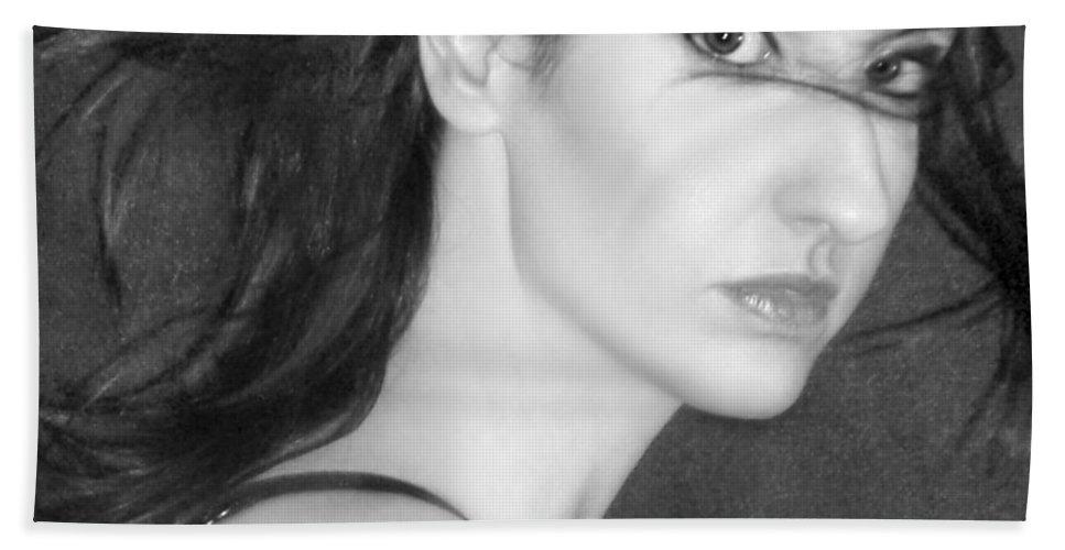 Alluring Bath Sheet featuring the photograph Behind Her Eyes Secrets Sleep... by Jaeda DeWalt