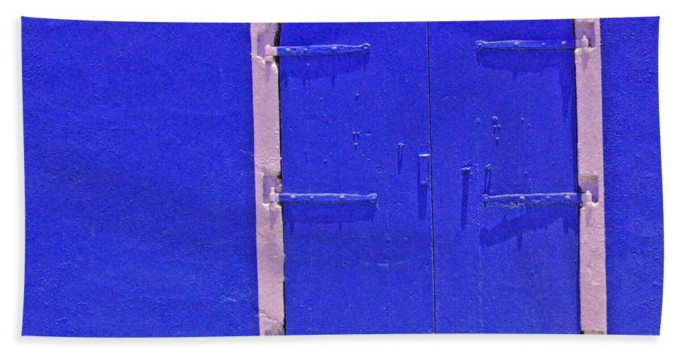 Door Bath Towel featuring the photograph Behind The Blue Door by Debbi Granruth