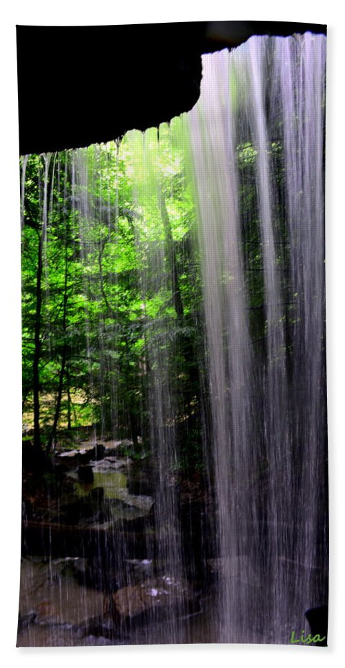 Mcconnells Mill State Park Pa Hand Towel featuring the photograph Behind The Falls by Lisa Wooten