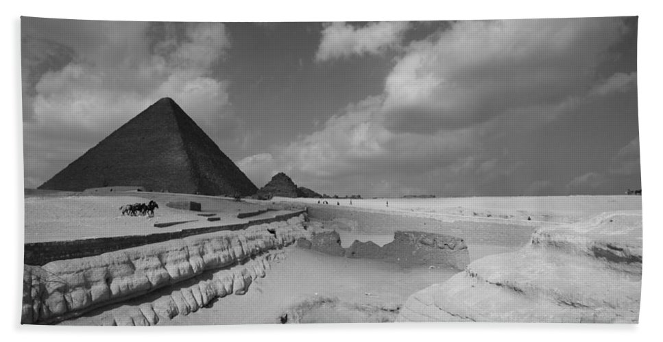 Pyramid Bath Sheet featuring the photograph Behind The Sphynx by Donna Corless