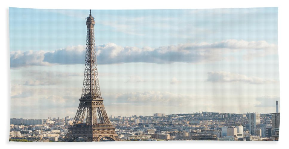 Eiffel Hand Towel featuring the photograph Paris Roofs And Tower by Anastasy Yarmolovich