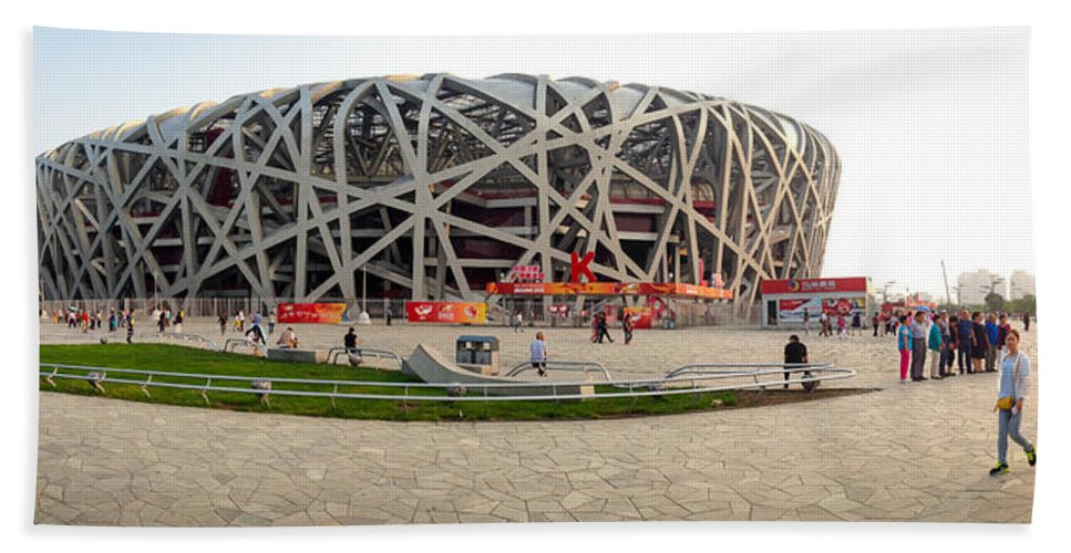 Beijing National Hand Towel featuring the photograph Beijing National Olympic Stadium by Henrik Lehnerer